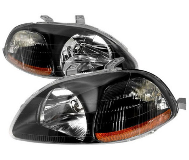 1996 1998 Honda Civic Black Housing Euro Style Reflector Headlights