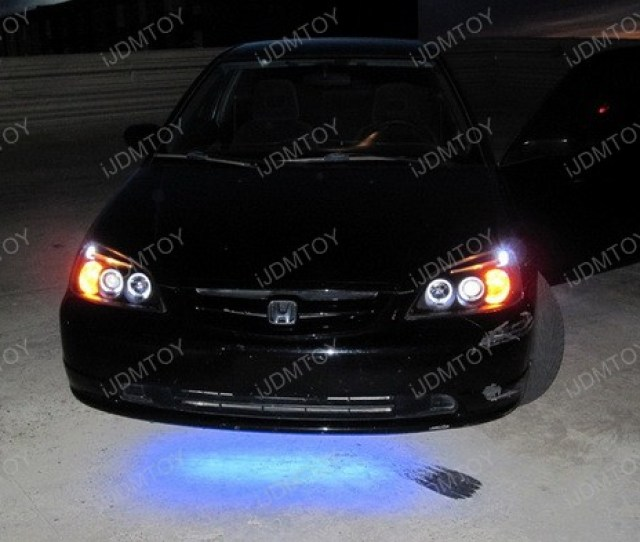 2001 2003 Honda Civic Black Housing Dual Halo Angel Eyes Projector Led Headlights