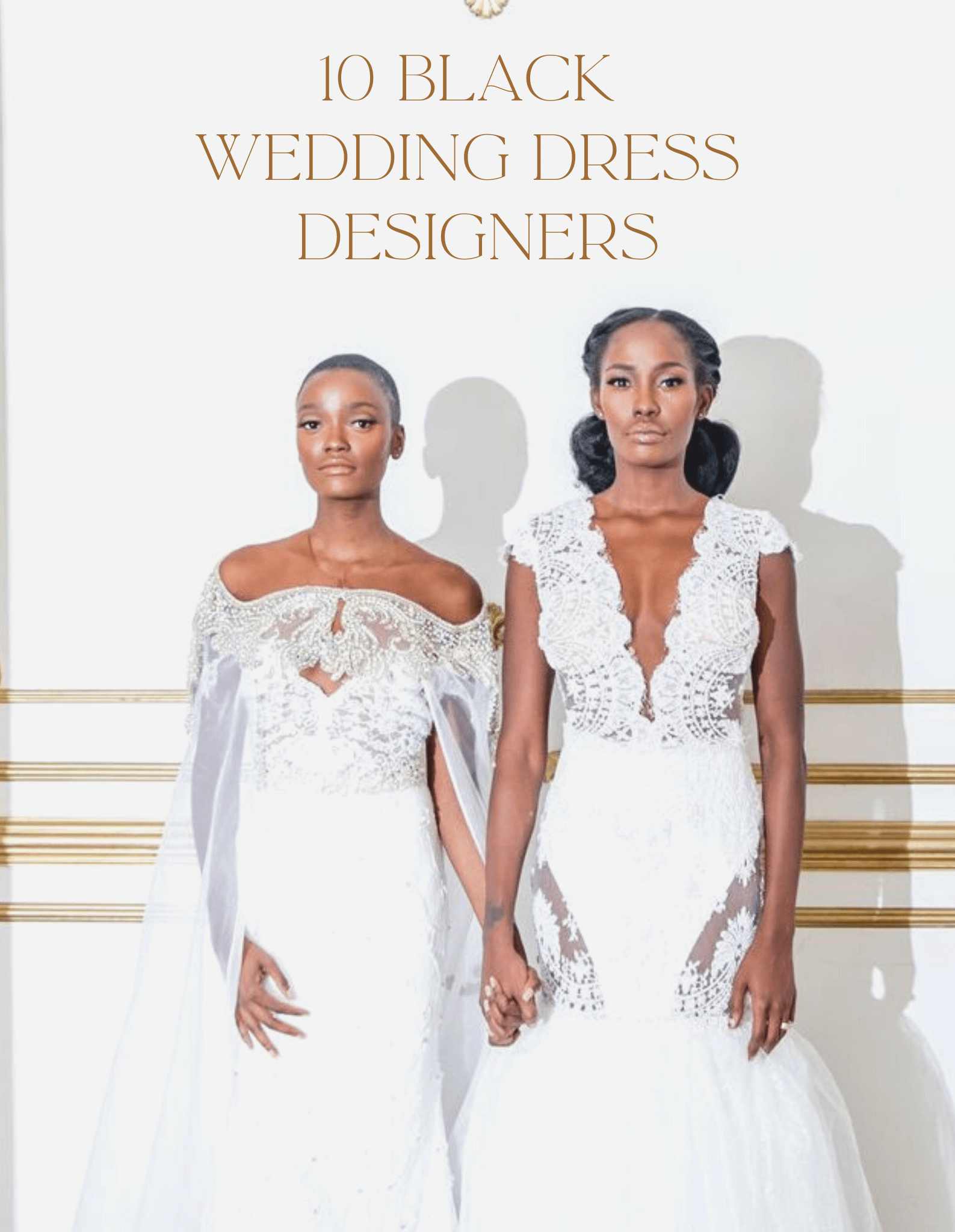 2 black models in wedding dresses