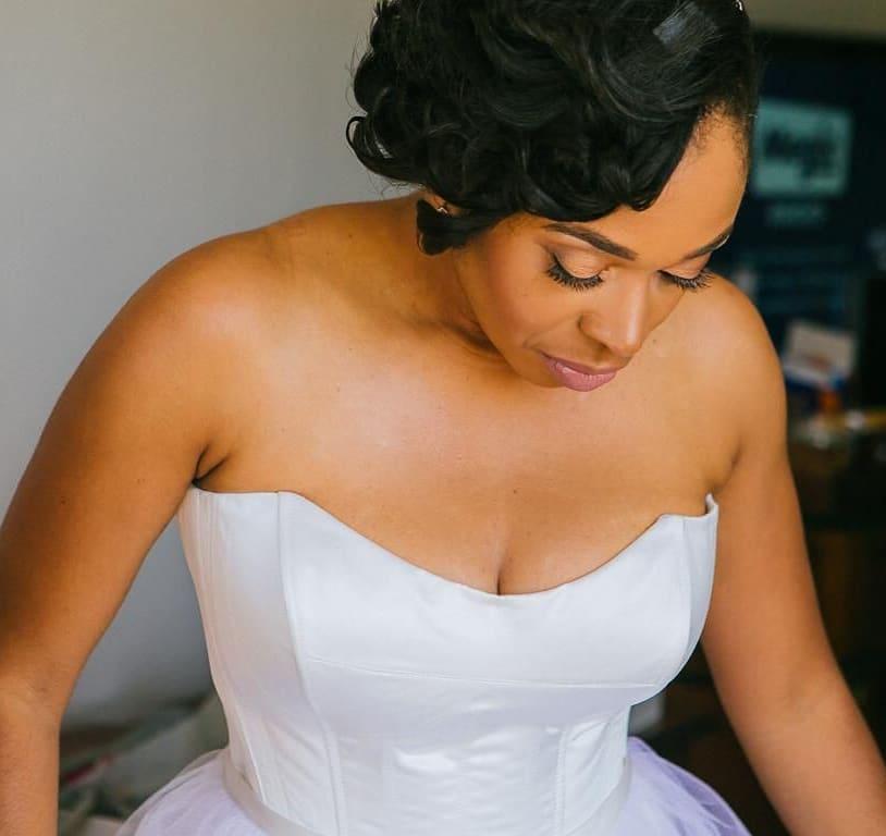 Black model in CGH wedding dress