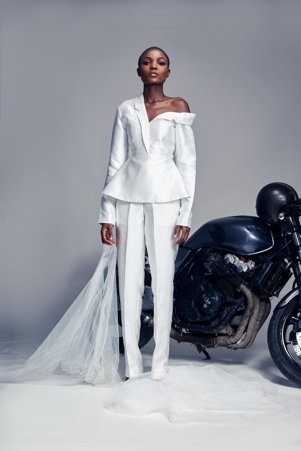 Black model in wedding suit