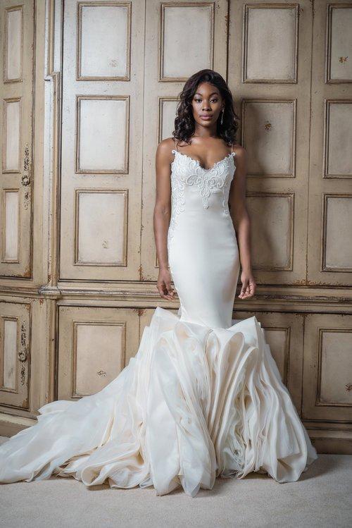 Black model in Jean Ralph Thurin weddding dress
