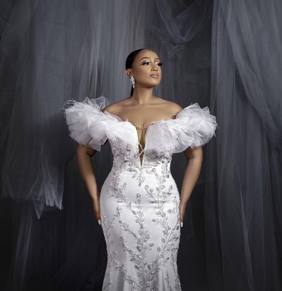 Black model in wedding dress