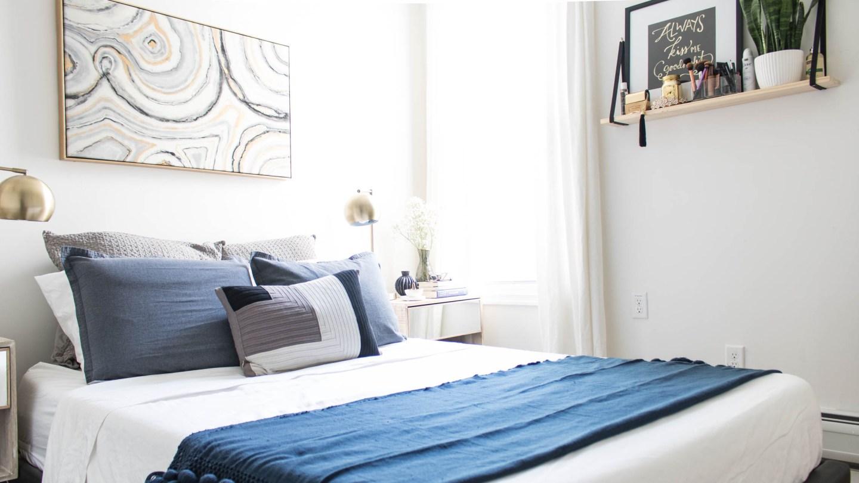 Klassy Kinks bedroom decor, blue and grey bedroom, modern bedroom decor