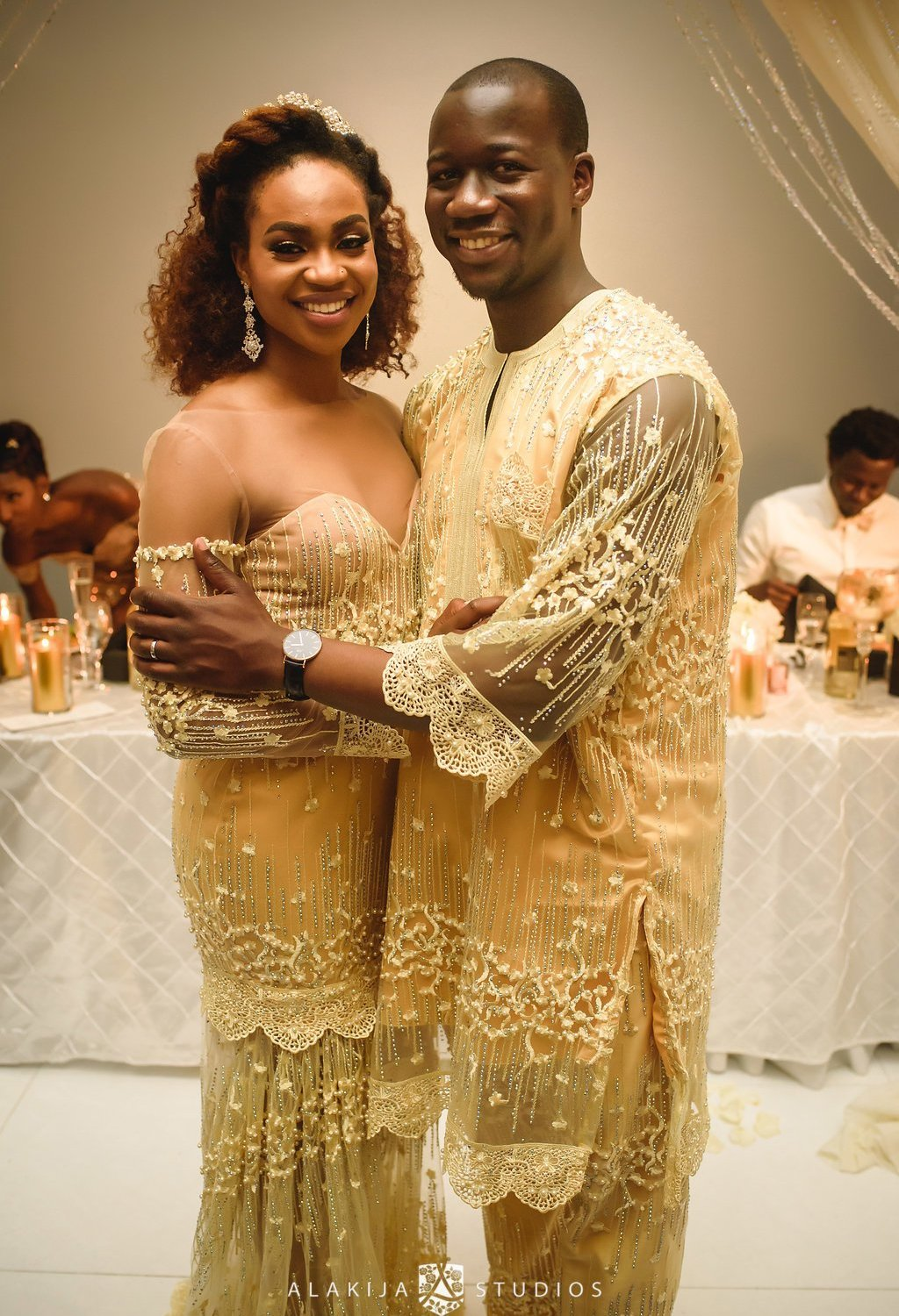 yellow gold Nigerian traditional wedding outfits