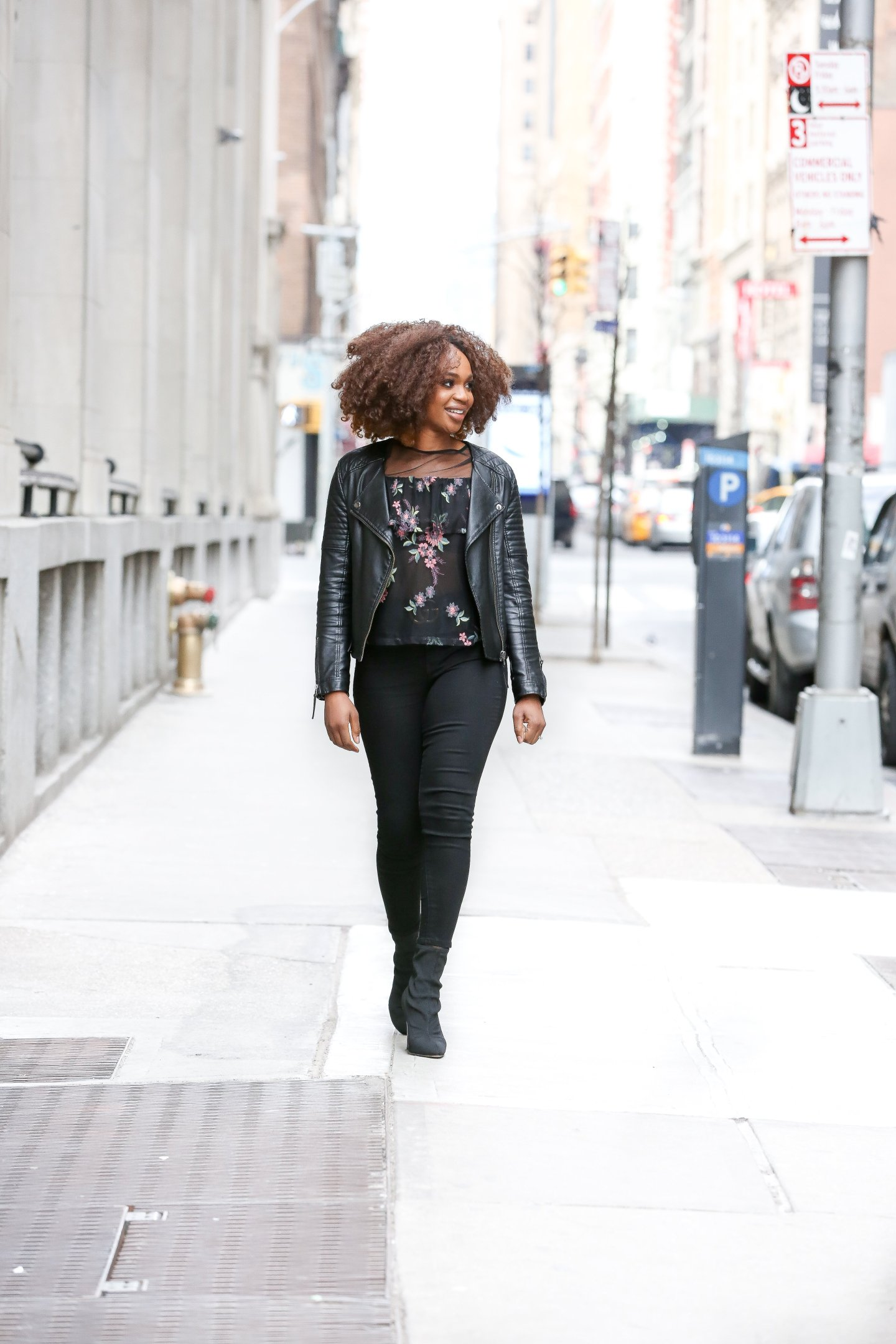 casual Valentine's Day outfit ideas, Galentines outfit idea, black and pink Valentine's Day outfit, black floral top and leather jacket, bb Dakota black floral rayna top