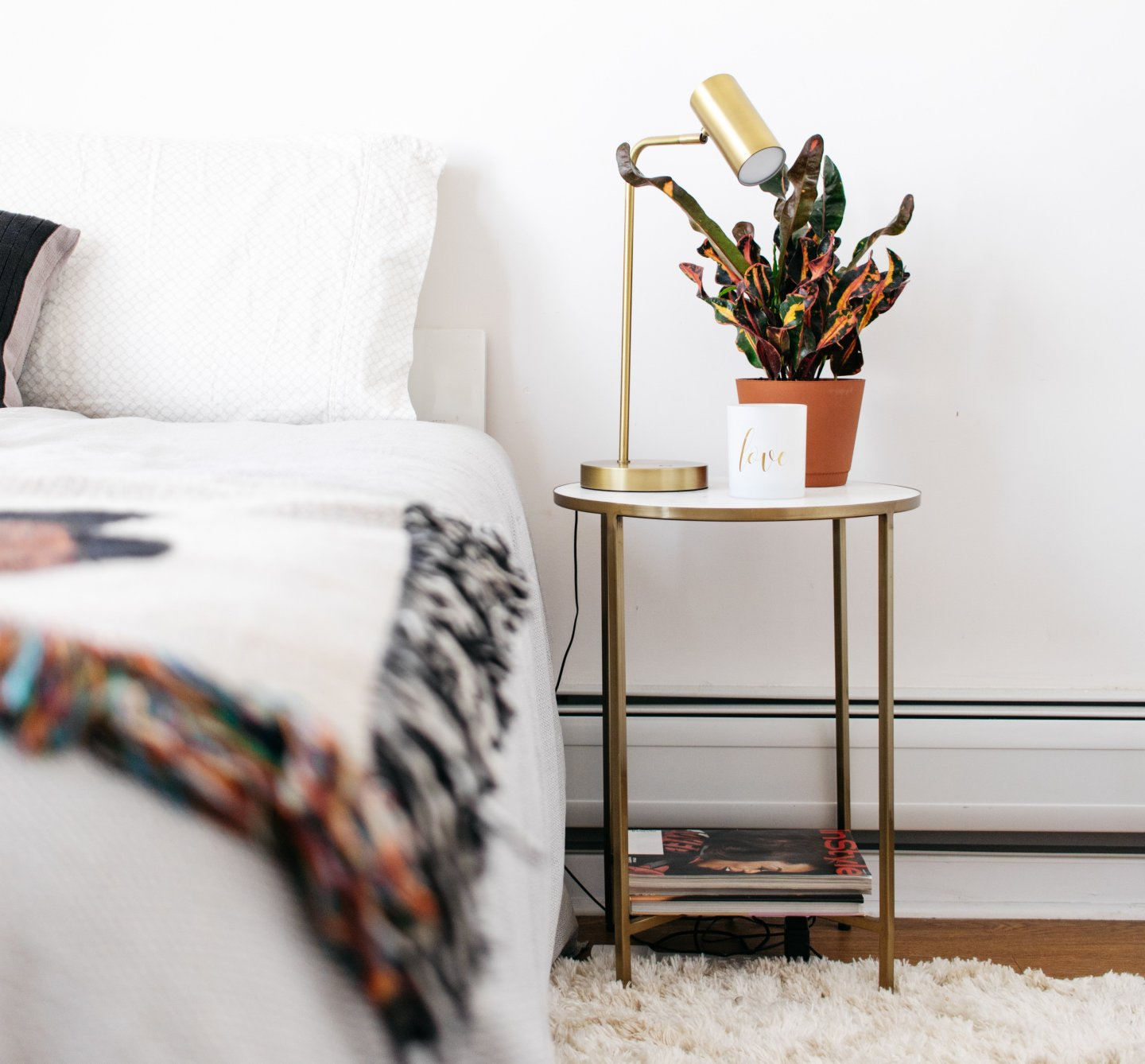 Home Office to Guest Bedroom Makeover - Gold Table Nightstand with Croton and Fringe Blanket