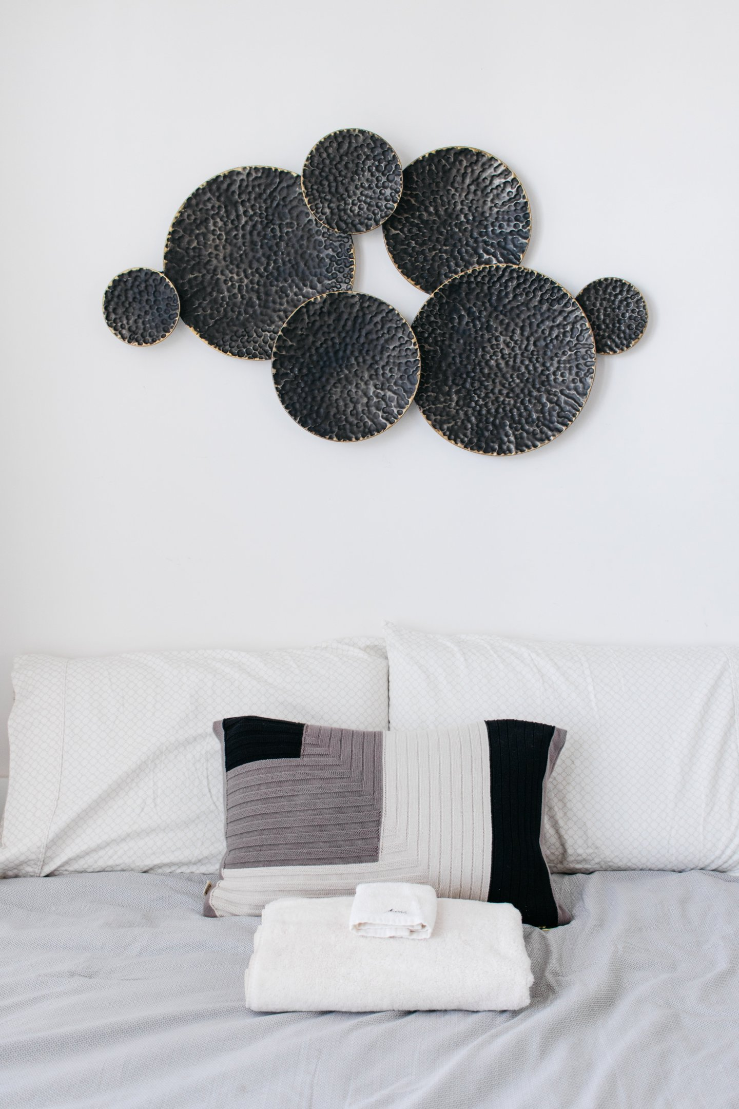 Home Office to Guest Bedroom Makeover - Metal Art Decor Over Bed