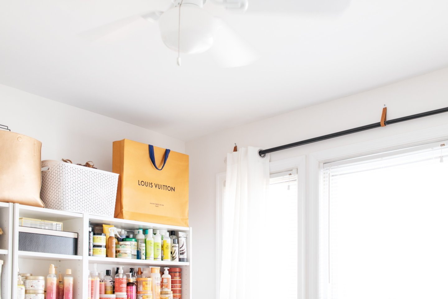 Home Office to Guest Bedroom Makeover - Leather Hanging Curtains