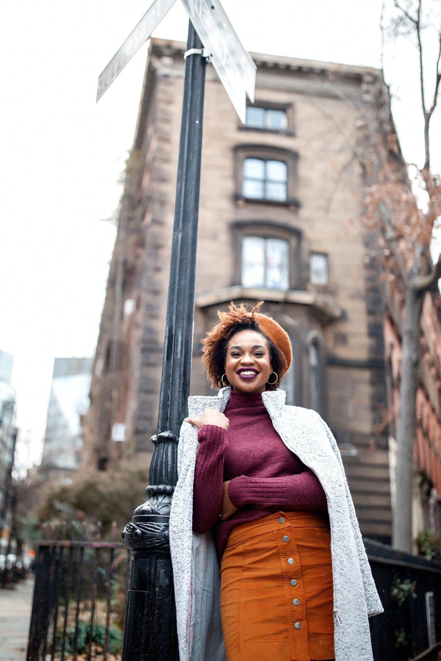 NYC Fashion Blogger Ijeoma Kola wearing Madewell Burgundy Turtleneck Mustard Skirt Leopard Loafers Beret and LOFT Grey Coat