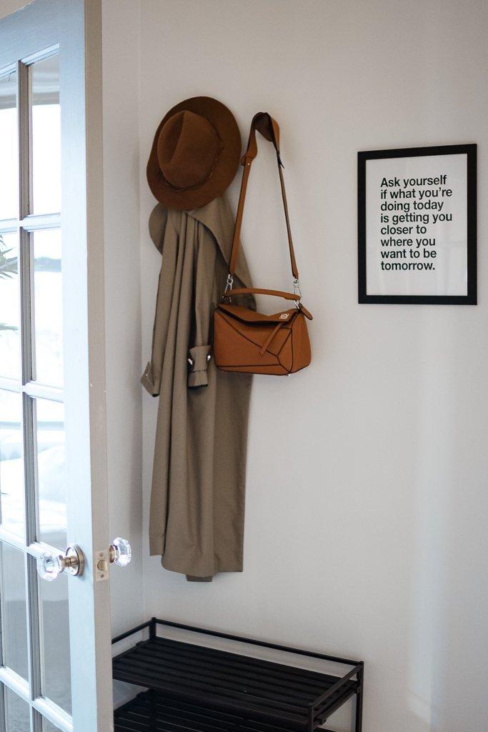 Simple entryway decor, loewe puzle bag