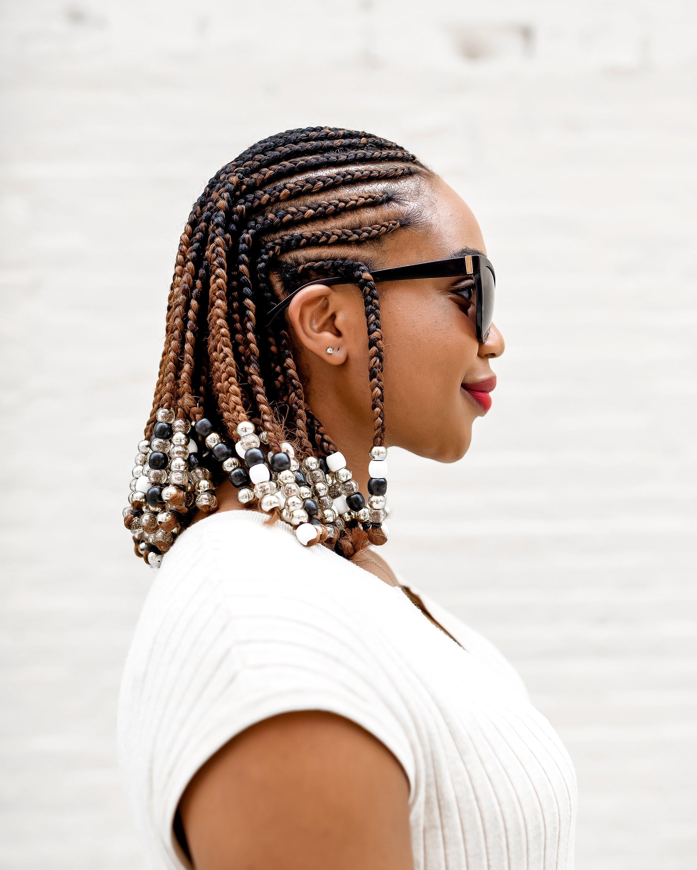 Braids and Beads Hairstyle in a Bob - Ijeoma Kola