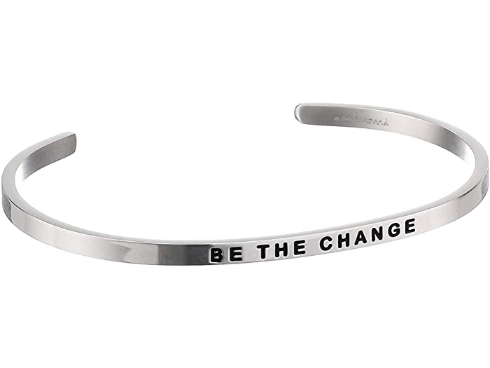Silver bracelet with 'Be the Change' engraved