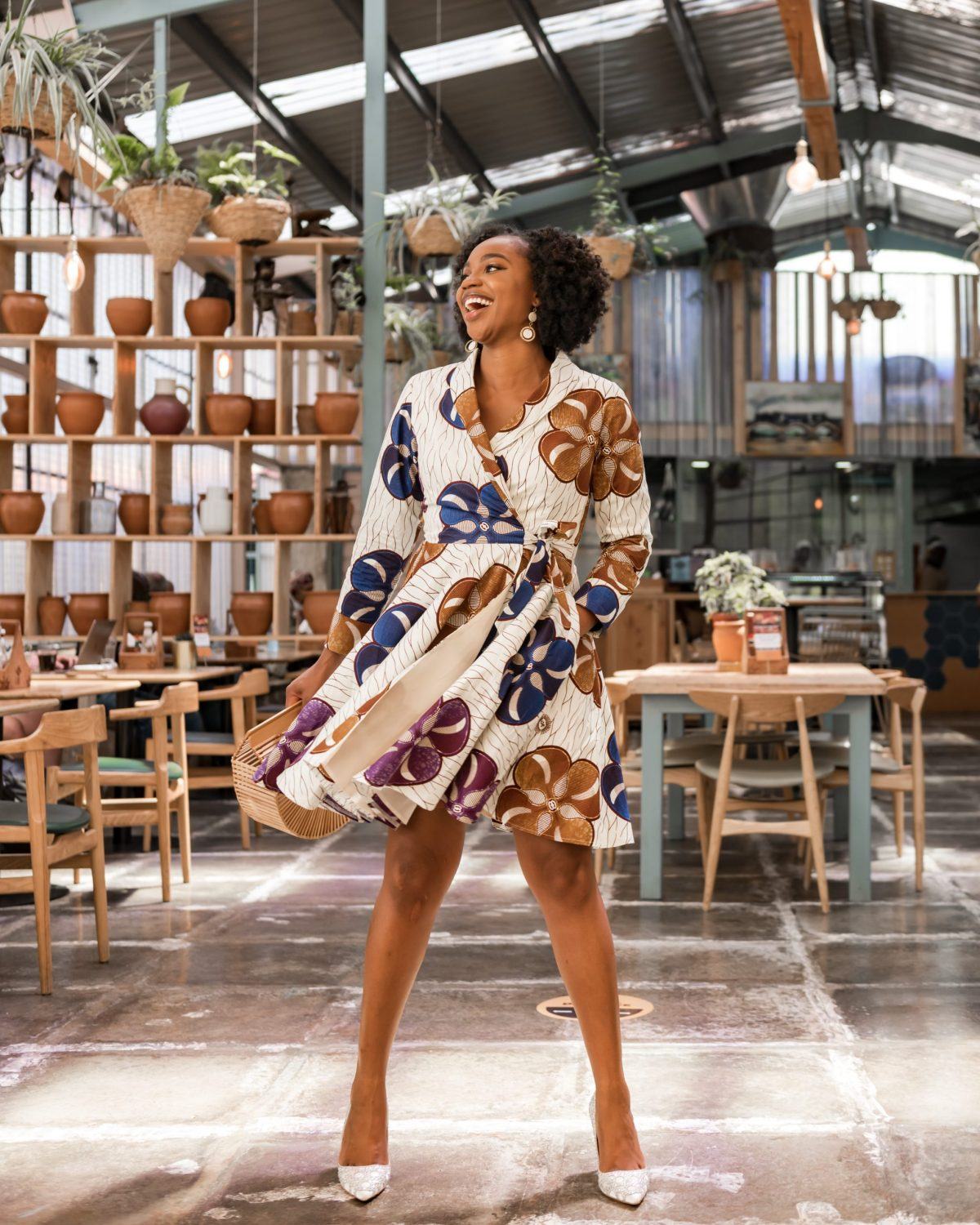 Ijeoma Kola in African print wrap dress