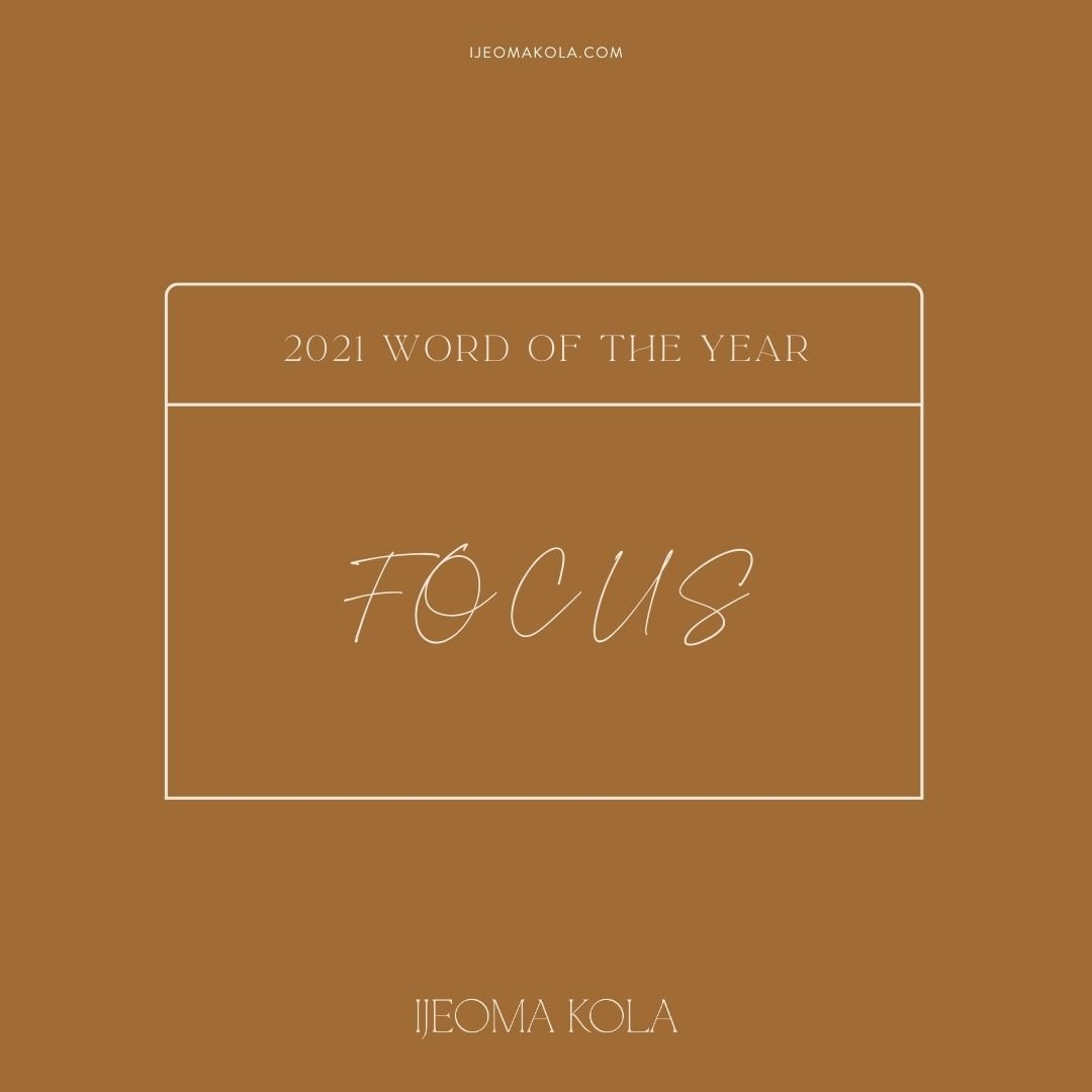 Ijeoma Kola 2021 Word of the Year with brown background