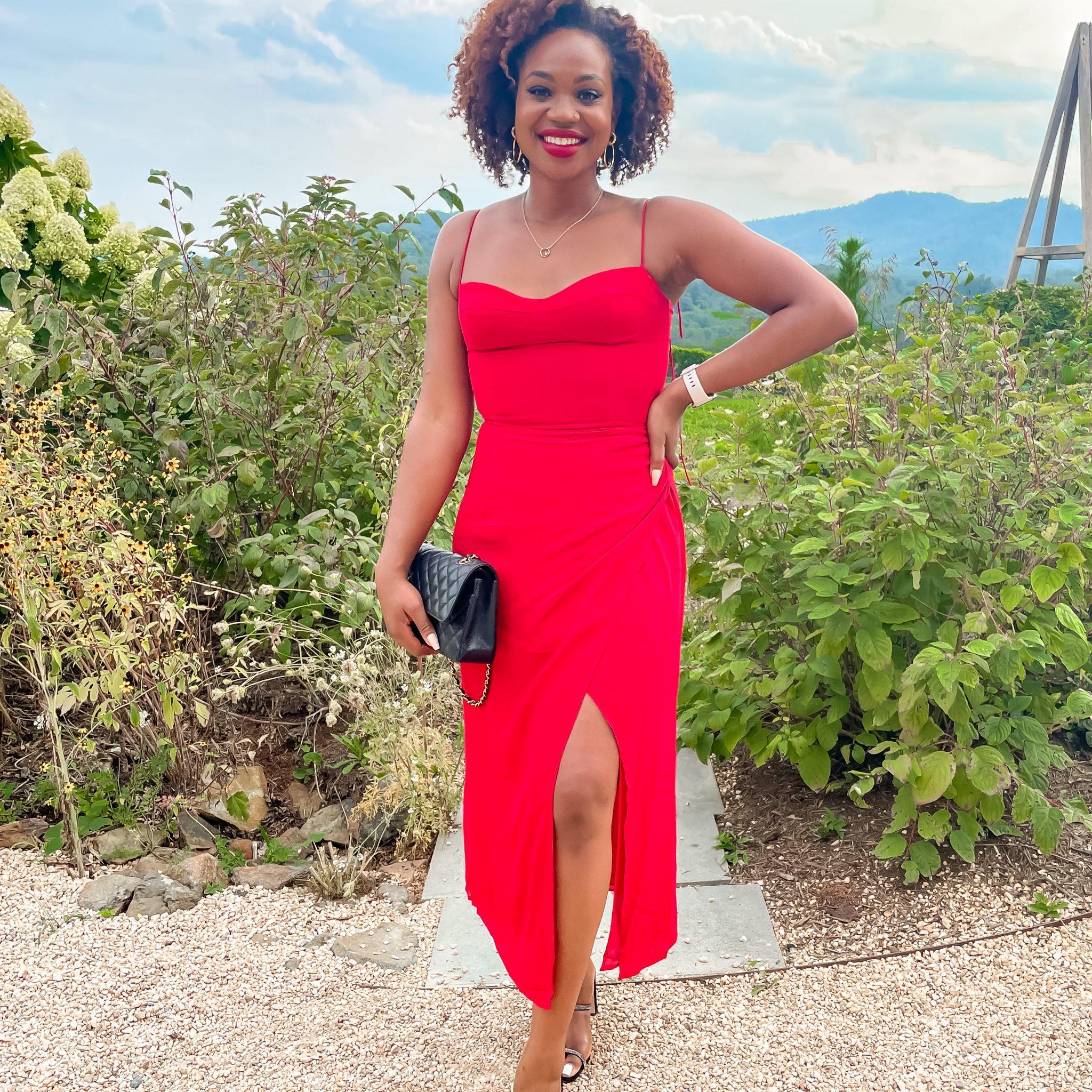 Ijeoma Kola wears Reformation Kourtney dress, red wedding guest dresses | August Q&A