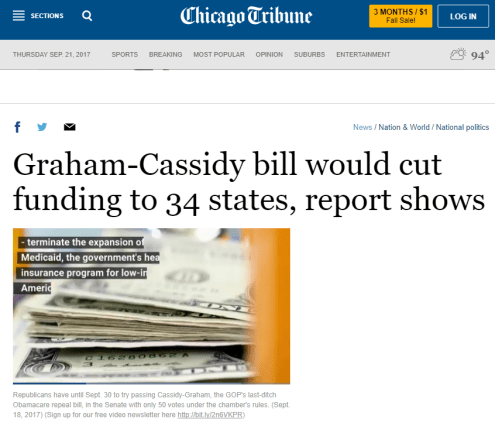 "This image shows a screen cap from the Chicago Tribune on September 20, 2017. The headline reads ""Graham-Cassidy bill would cut funding to 34 states, report shows."""