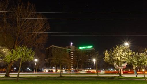 Video verlichting Rijnpoort gebouw Bordbusters