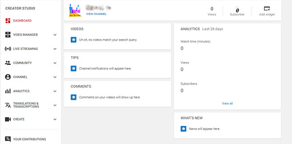 youtube Chanel dashboard