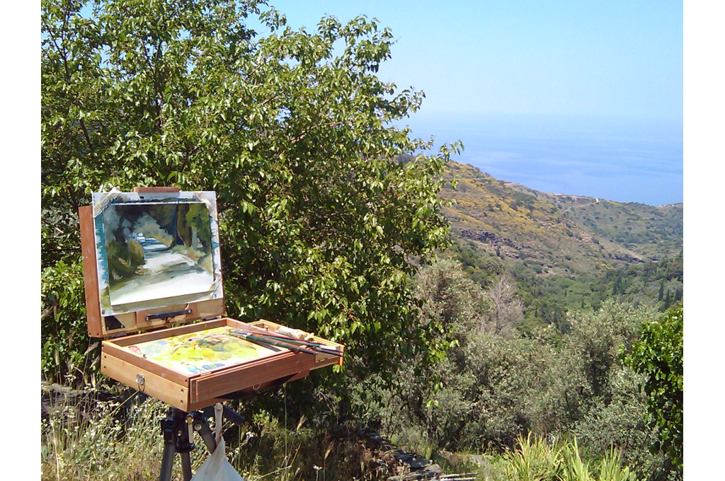 Painting course by Tom Campbell, island Ikaria
