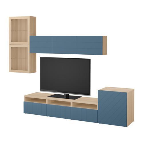 besta meuble tv combine porte en verre un chene blanchi hallstavik verre bleu fonce transparent guides de tiroirs pousser