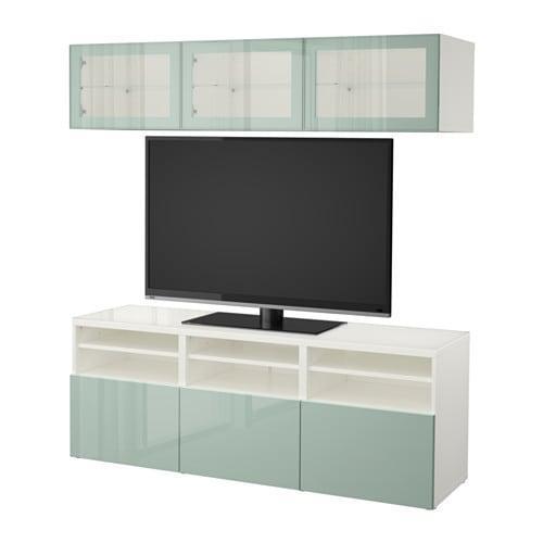 besta meuble tv combine porte en verre blanc selsviken haut brillant gris clair vert verre transparent guides de tiroirs pousser