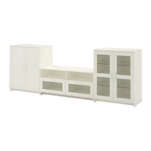 brimnes meuble tv combi porte vitree blanc 276x41x95 cm