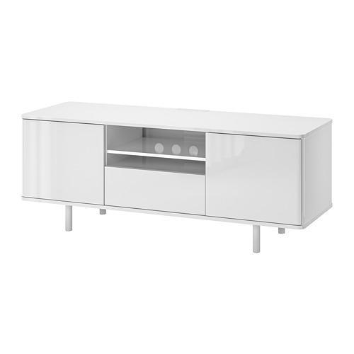 mostorp meuble tele blanc brillant