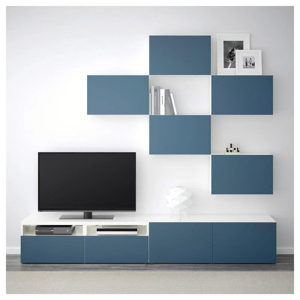 besta combinaison meuble tv blanc valviken bleu fonce des rails de boite en douceur fermer