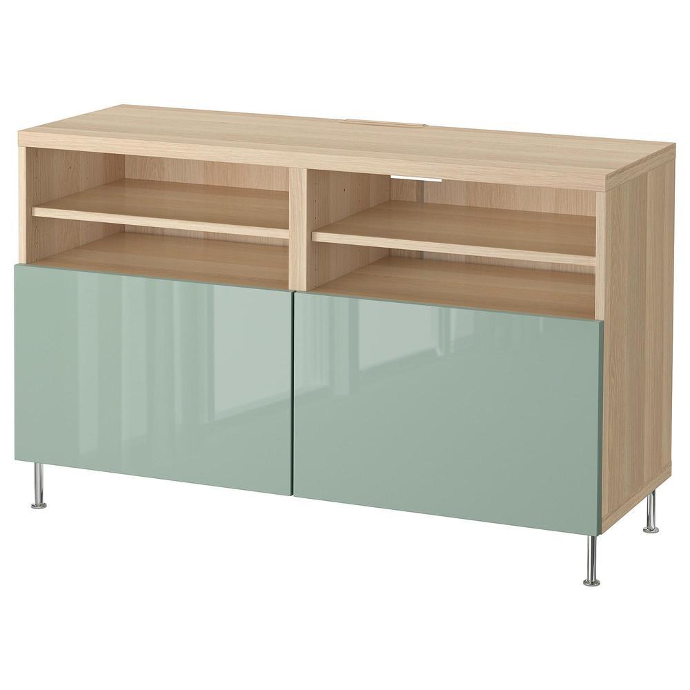 besta meuble tele avec portes chene blanchi gris vert clair