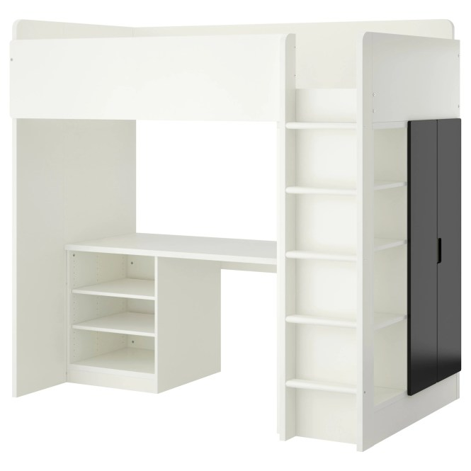 Stuva Loft Bed With 2 Shelves Doors