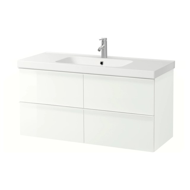 GODMORGON ODENSVIK Sink cabinet with 4 drawers high gloss gray