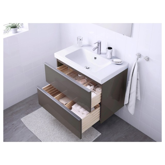 GODMORGON ODENSVIK Sink cabinet with 2 drawers high gloss gray