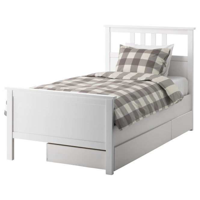 Hemnes Bed Frame With 2 Storage Bo White Stain Length 79 1 8