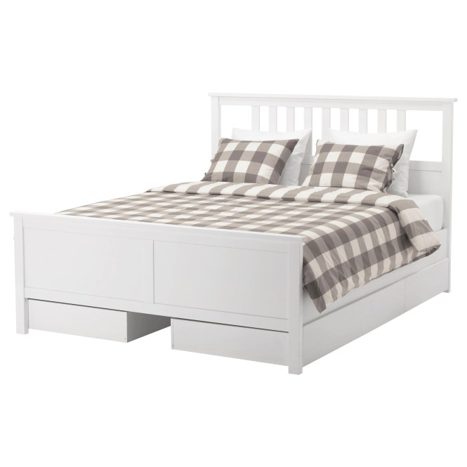 Hemnes Bed Frame With 4 Storage Bo Queen Luröy Slatted Base Ikea