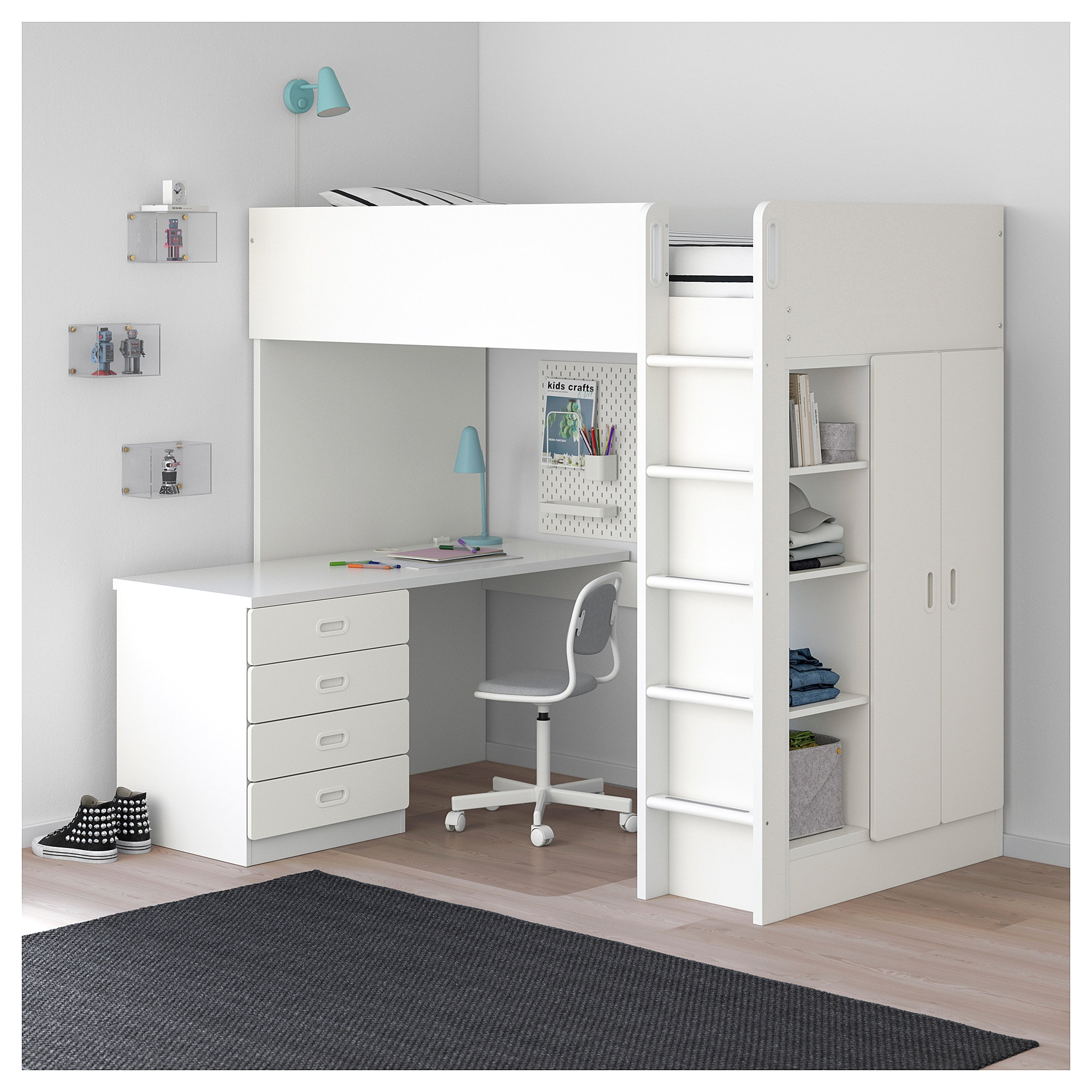 Loft Bed Combo W 4 Drawers2 Doors Stuva Fritids White White