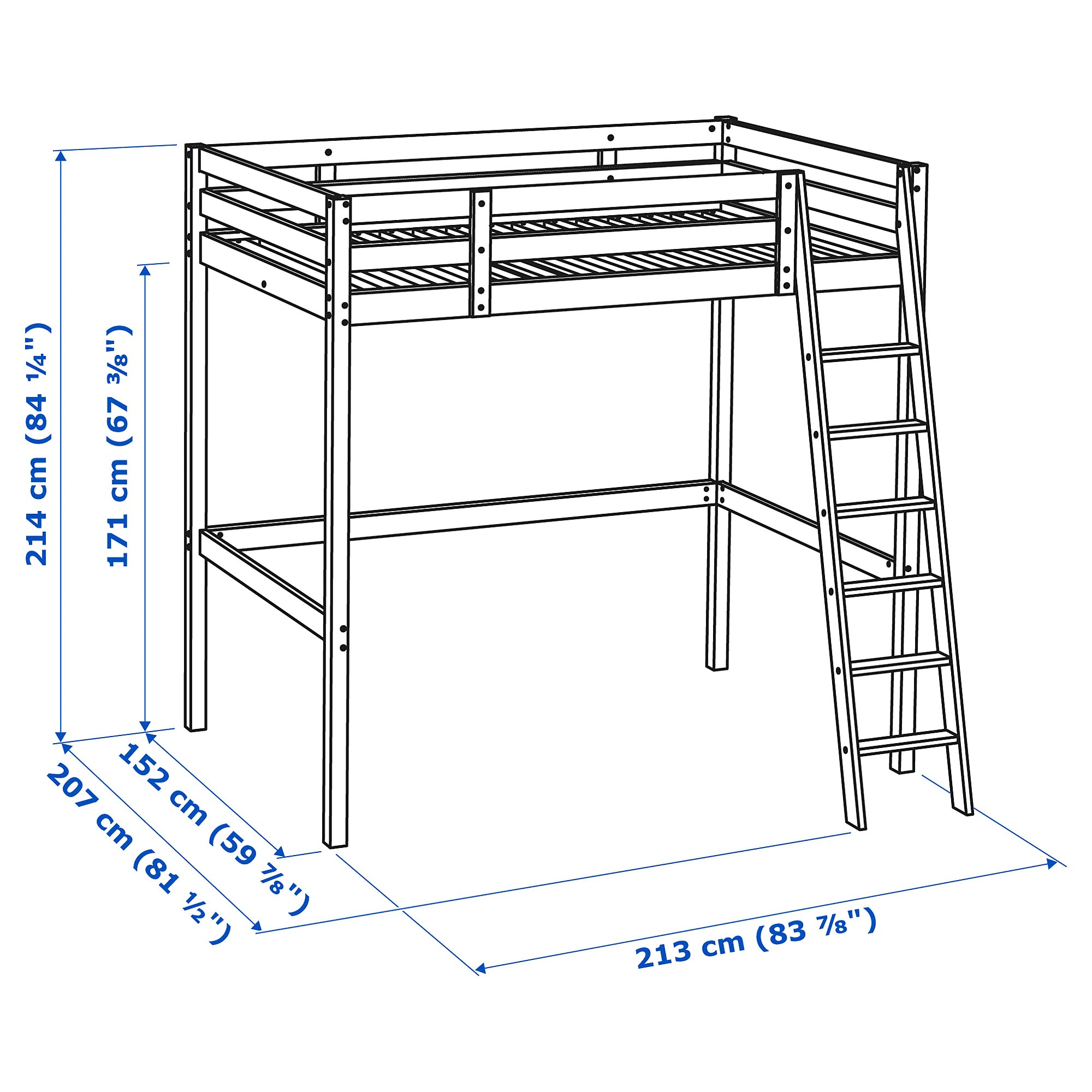 Loft Bed Frame Storå Black