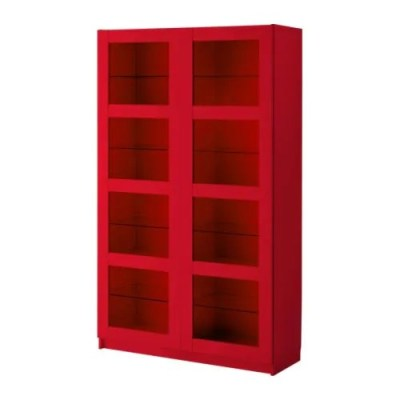 BERGSBO Bookcase with glass doors red Width: 47 1/4