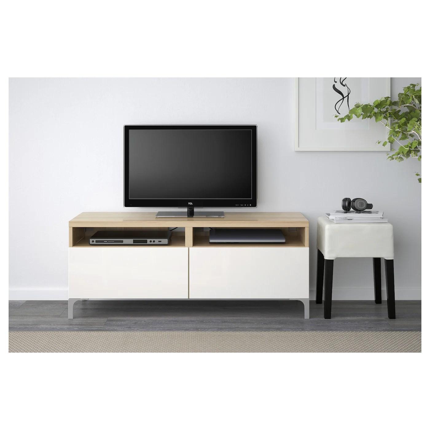 besta tv bank mit schubladen eicheneff wlas selsviken hochglanz weiss 120x42x48 cm