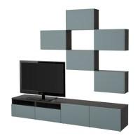 BESTÅ TV storage combination   black brown/Valviken grey ...