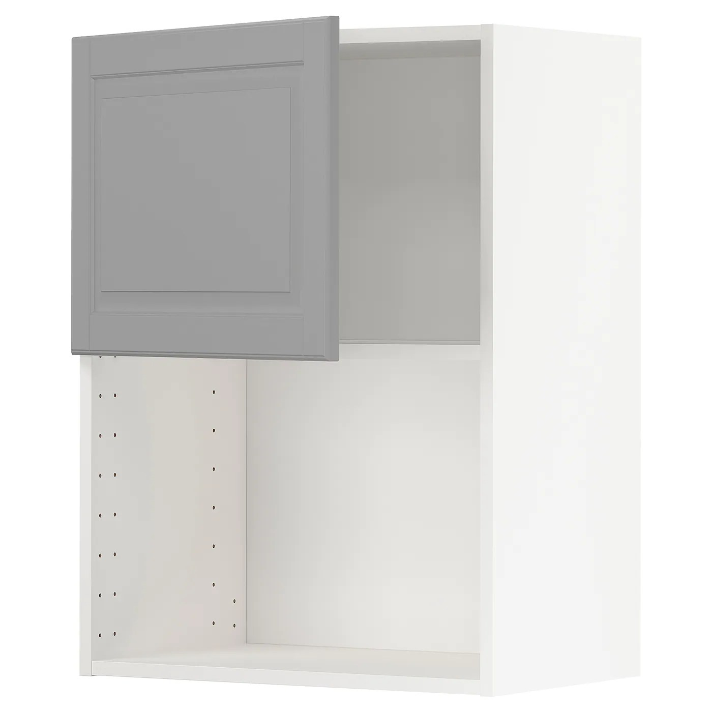 metod wall cabinet for microwave oven white bodbyn grey 60x37x80 cm