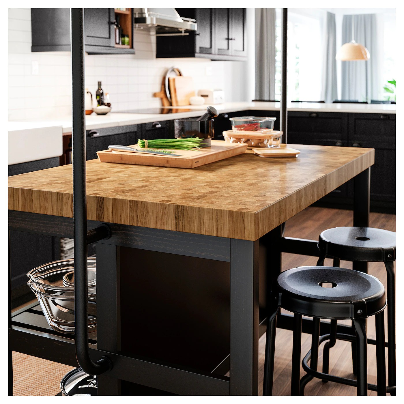 Vadholma Kitchen Island Black Oak Shop Here Ikea