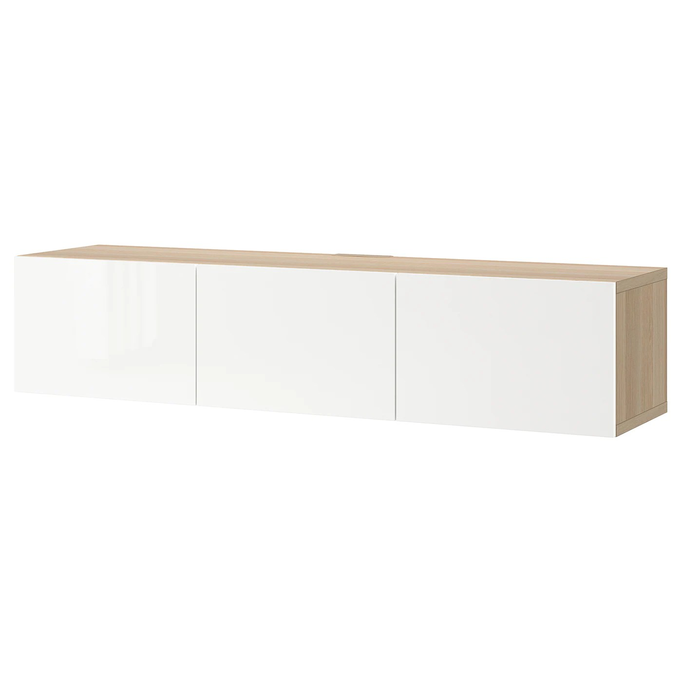 besta banc tv avec portes effet chene blanchi selsviken brillant blanc 180x42x38 cm