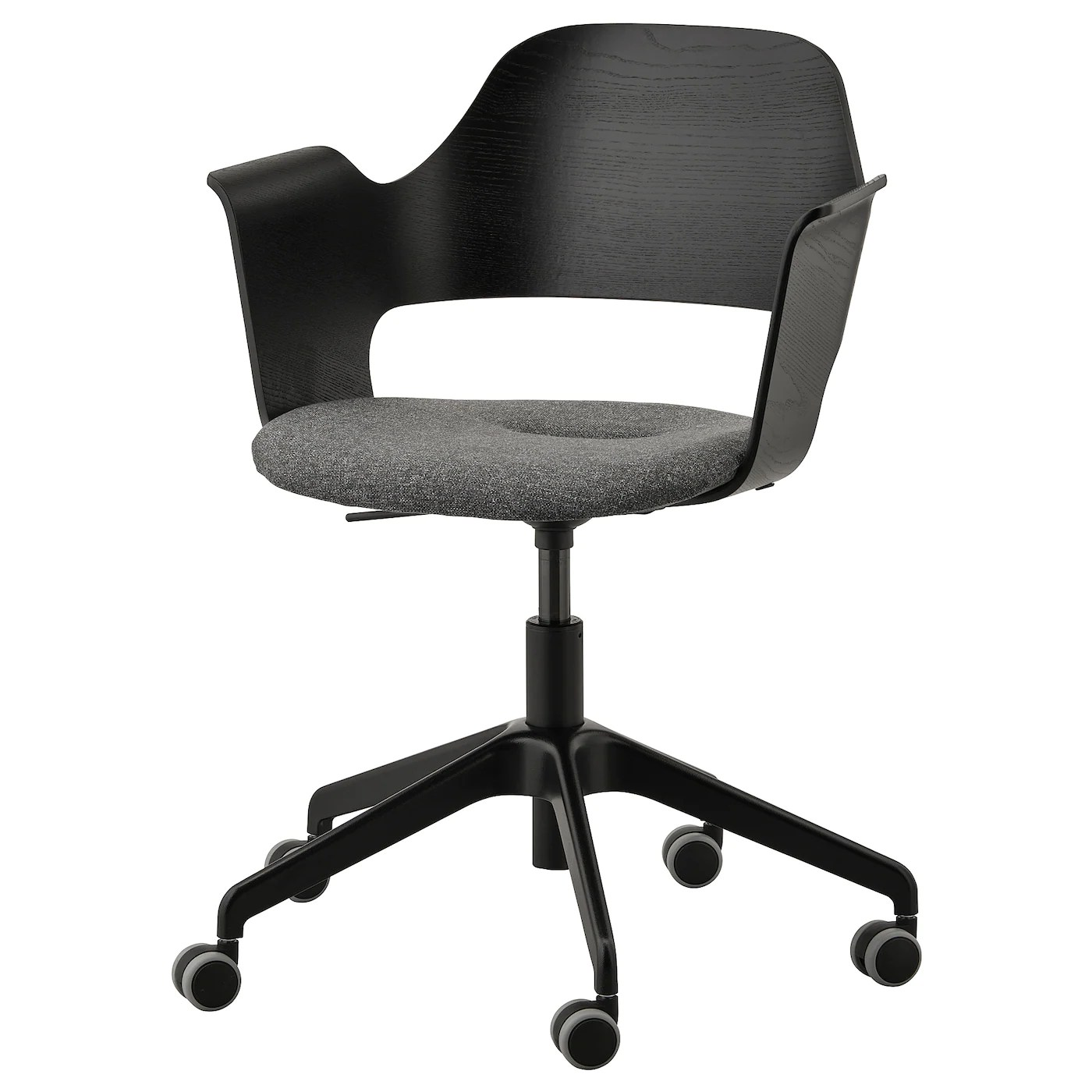 Fjallberget Fauteuil Conference A Roulettes Plaque Frene Teinte Noir Gunnared Gris Fonce Ikea