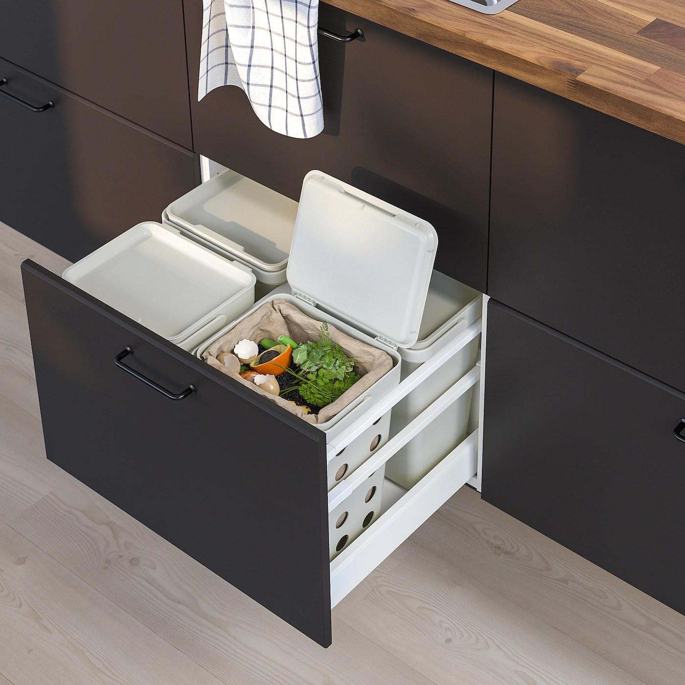 Hallbar Solution Tri Des Dechets Pour Tiroir De Cuisine Metod Ventile Gris Clair Ikea