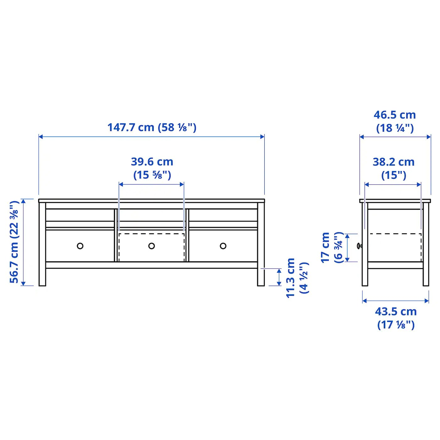 hemnes banc tv teinte blanc brun clair 148x47x57 cm