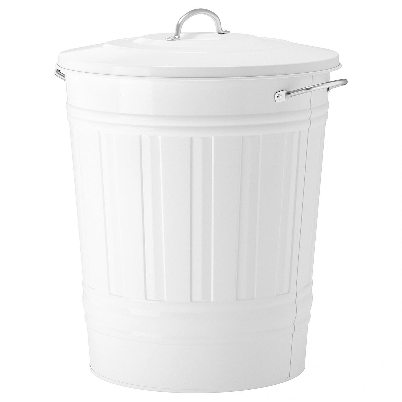 Knodd Poubelle Avec Couvercle Blanc 40 L Ikea