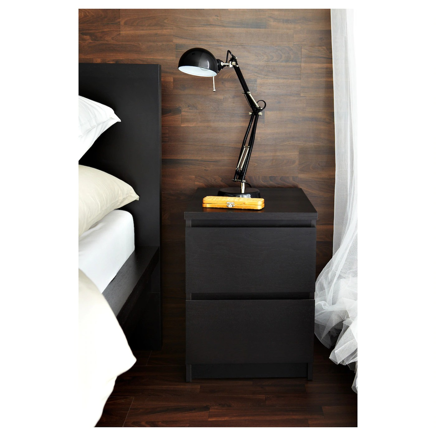 MALM Commode 2 Tiroirs Brun Noir 40 X 55 Cm IKEA