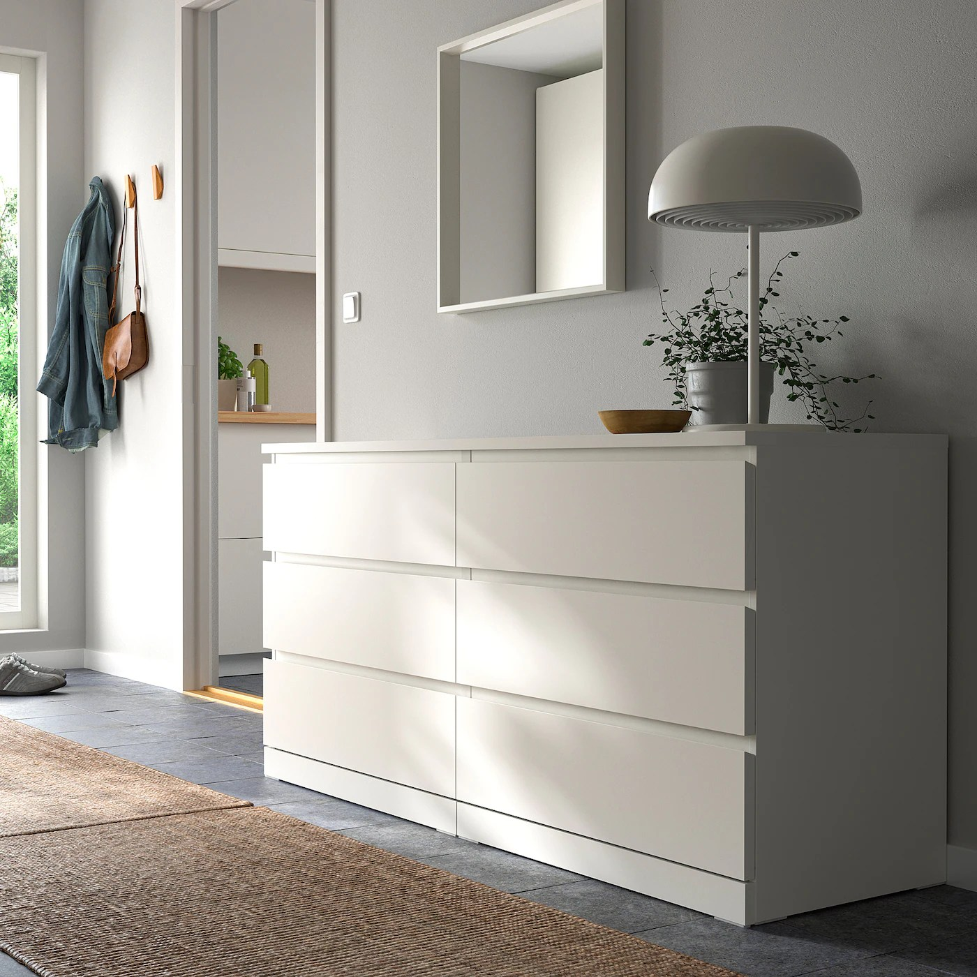 malm commode 6 tiroirs blanc 160x78 cm