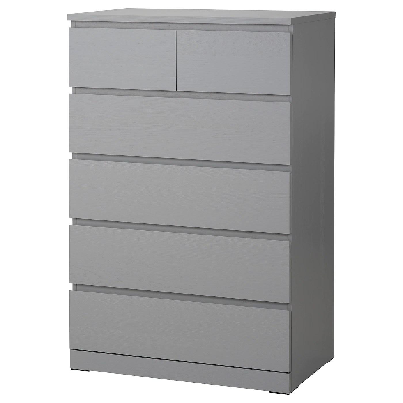 malm commode 6 tiroirs gris teinte 80x123 cm